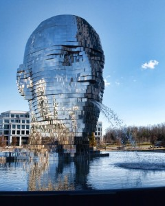 Don't miss rotating head sculptured at Charlotte Tech Park